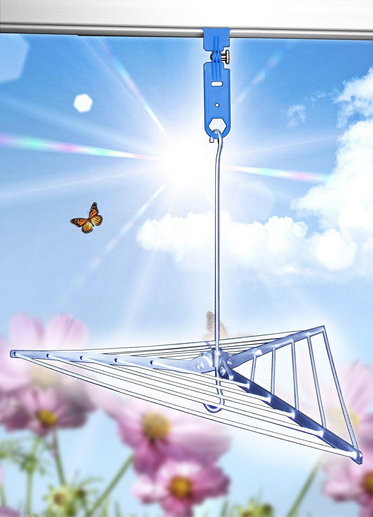 Flat Dryer rek met MUFU Light blauw en bloemenachtergrond